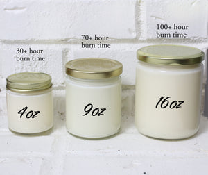 4oz, 9oz, and 16oz candle jar size options.