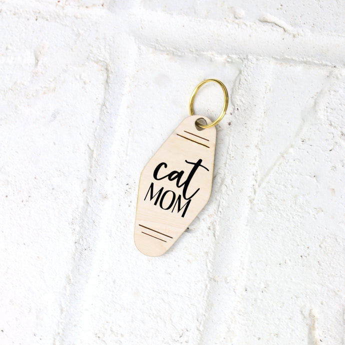 Cat Mom Motel Style Wood Keychain