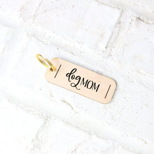 Dog Mom Wood Keychain