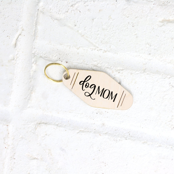 Dog Mom Motel Style Wood Keychain