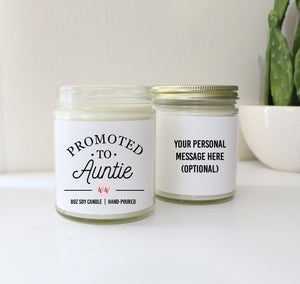 Promoted to Auntie Personalized Custom Scented Soy Candle Pregnancy Announcement Gift