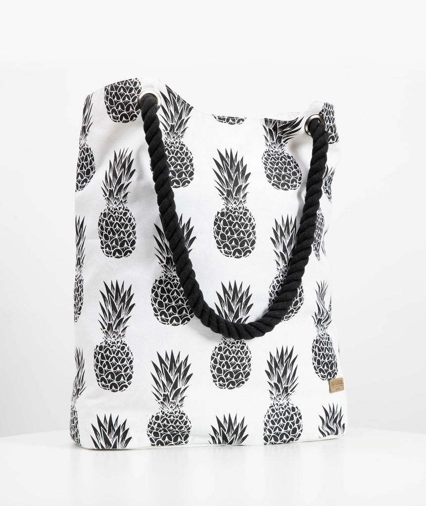 Canvas Beach tote - Pineapple print