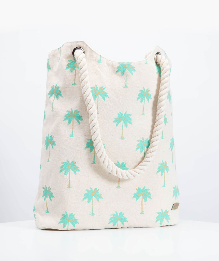 Canvas Beach tote - Hawaii Palm tree print