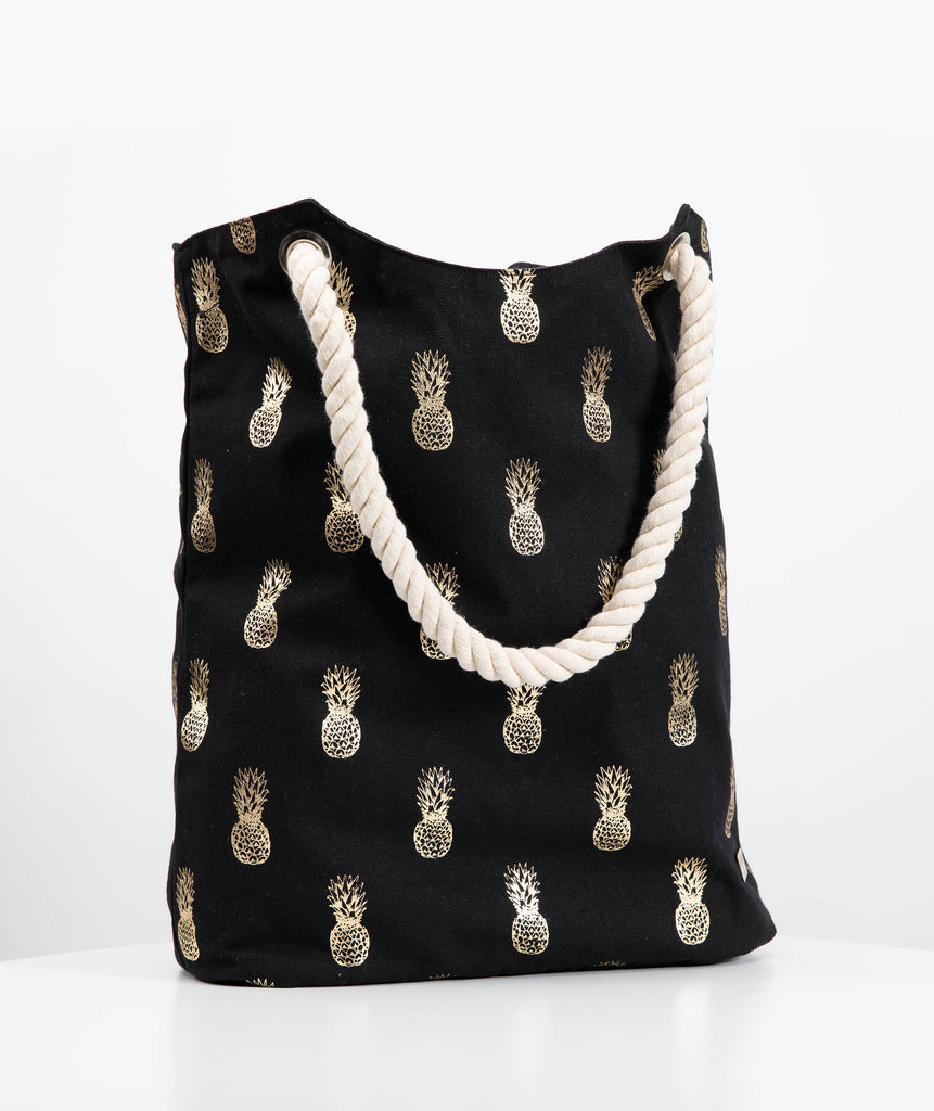 Gold Pineapple Beach Bag