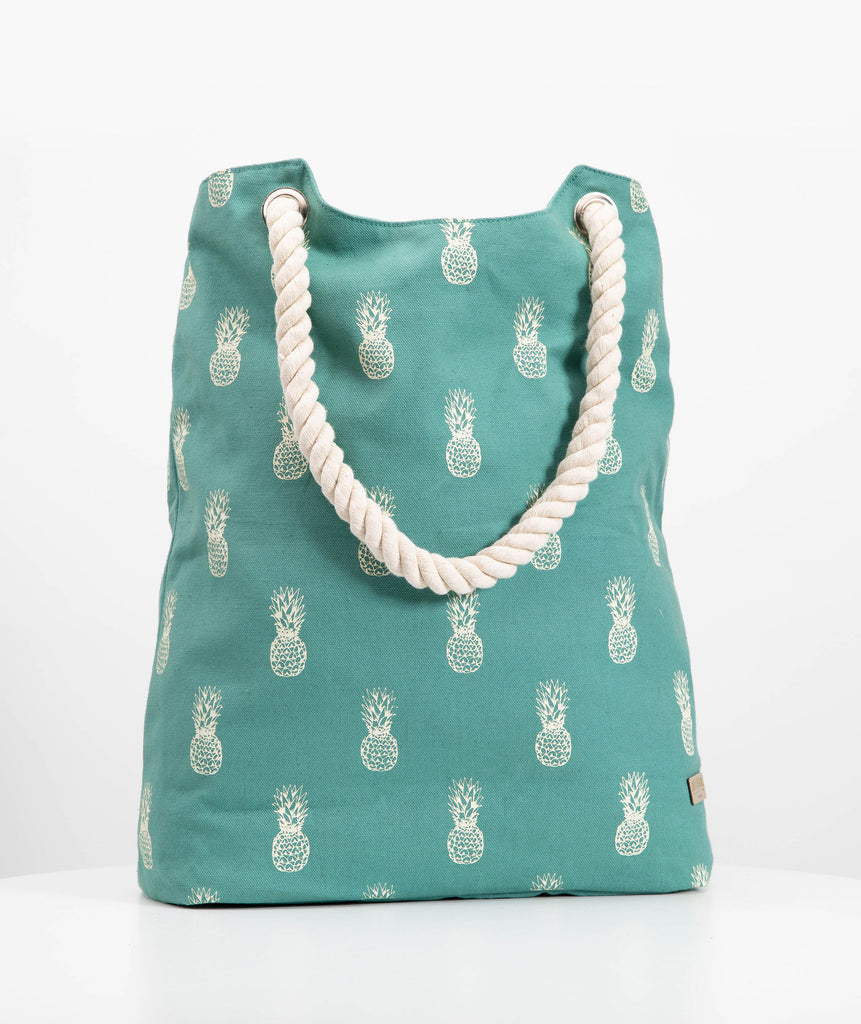 Teal Pineapple Beach Bag