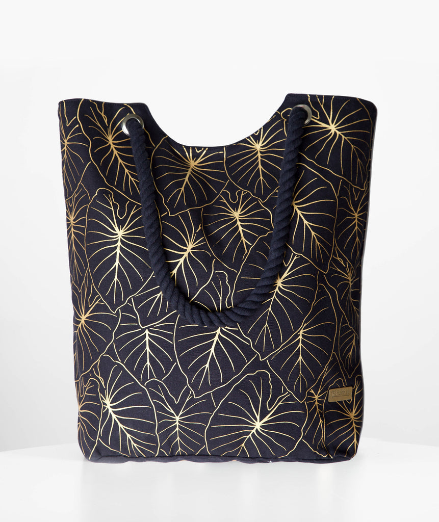 Gold Kalo Leaf Beach Bag
