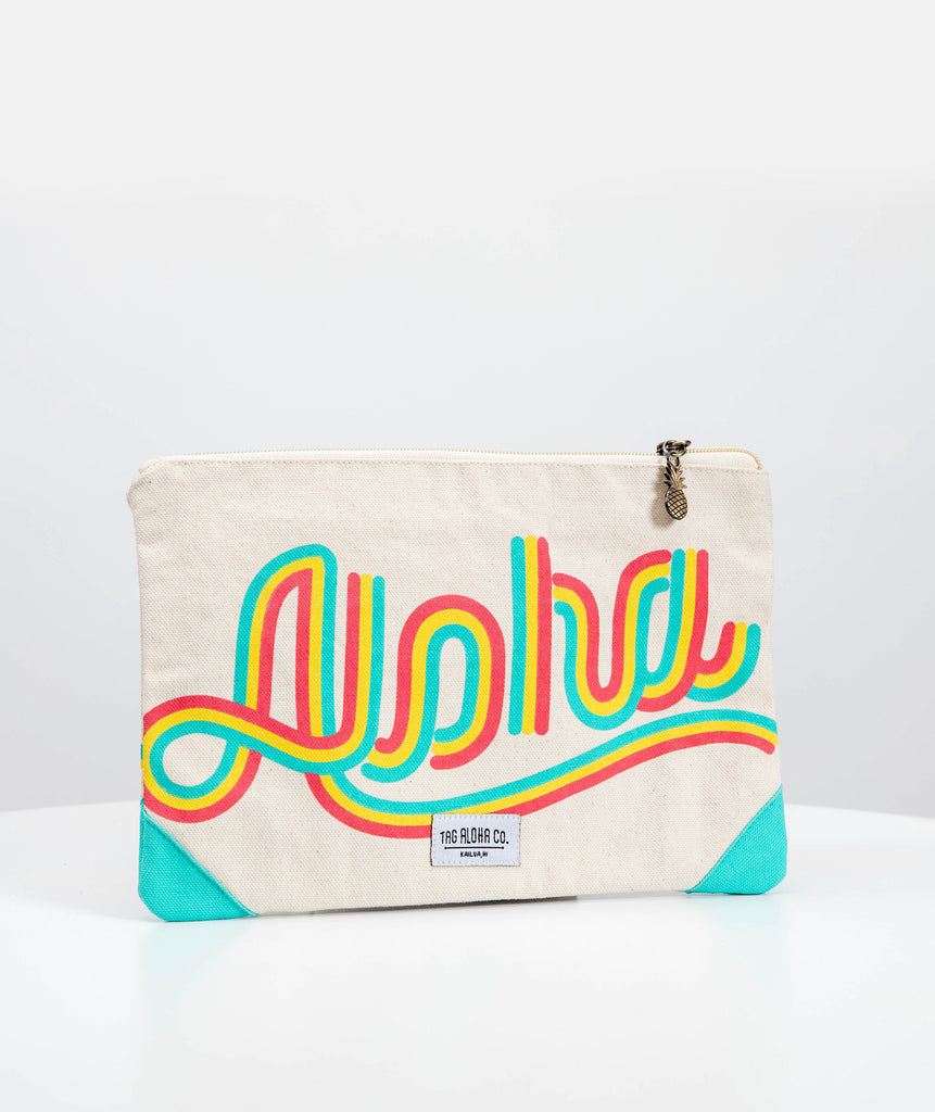 Hawaiian Clutch bag - Rainbow Aloha print
