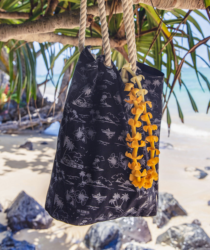 Canvas Beach tote - Hawaiian print
