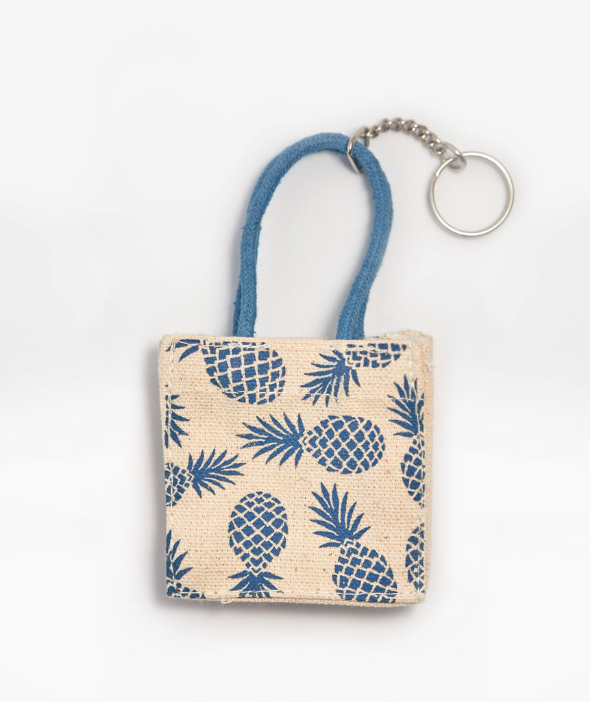 Hawaiian Keychain tote - Blue Pineapples