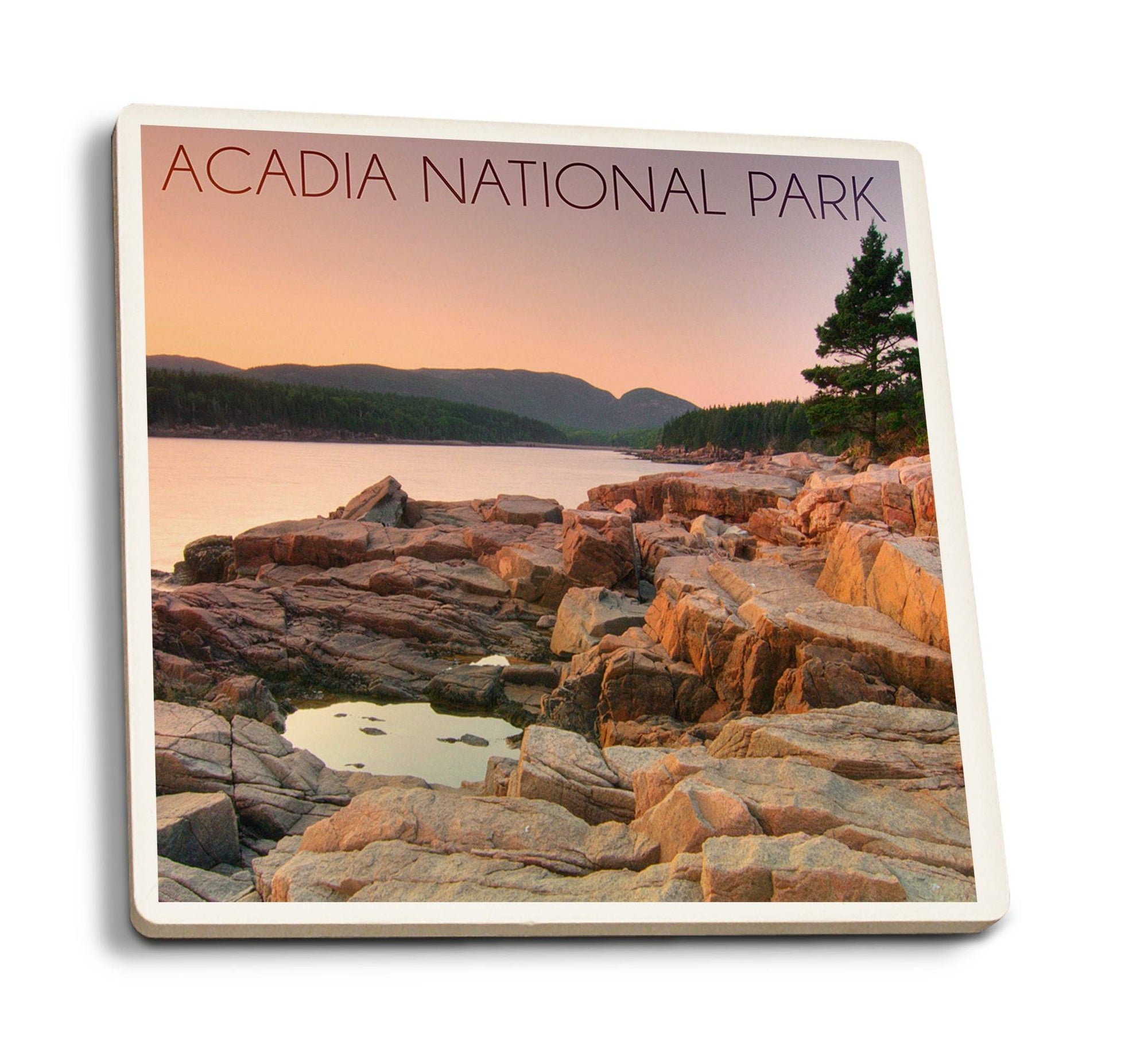 Coaster (Acadia National Park, Maine - Rocks and Water - Lantern Press Photography) Coaster Nightingale Boutique Coaster Pack