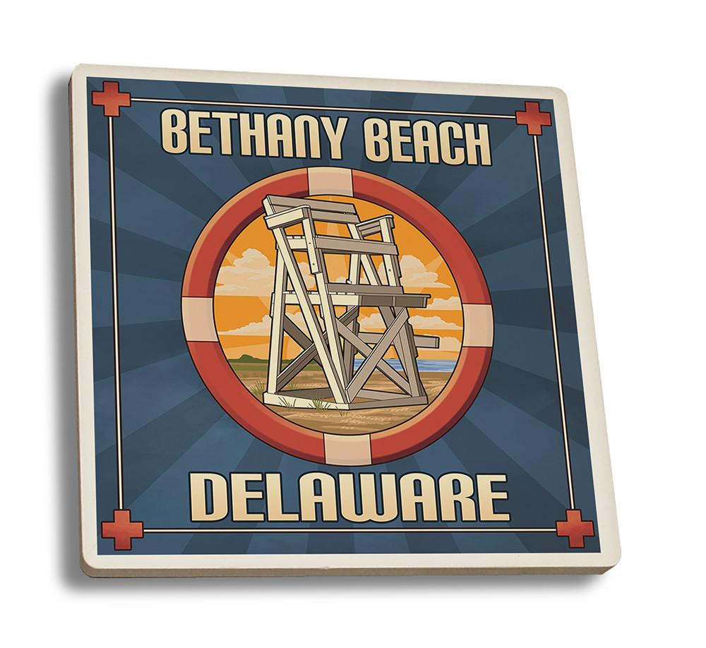 Coaster (Bethany Beach, Delaware - Lifeguard Chair - Lantern Press Artwork) Coaster Nightingale Boutique Coaster Set