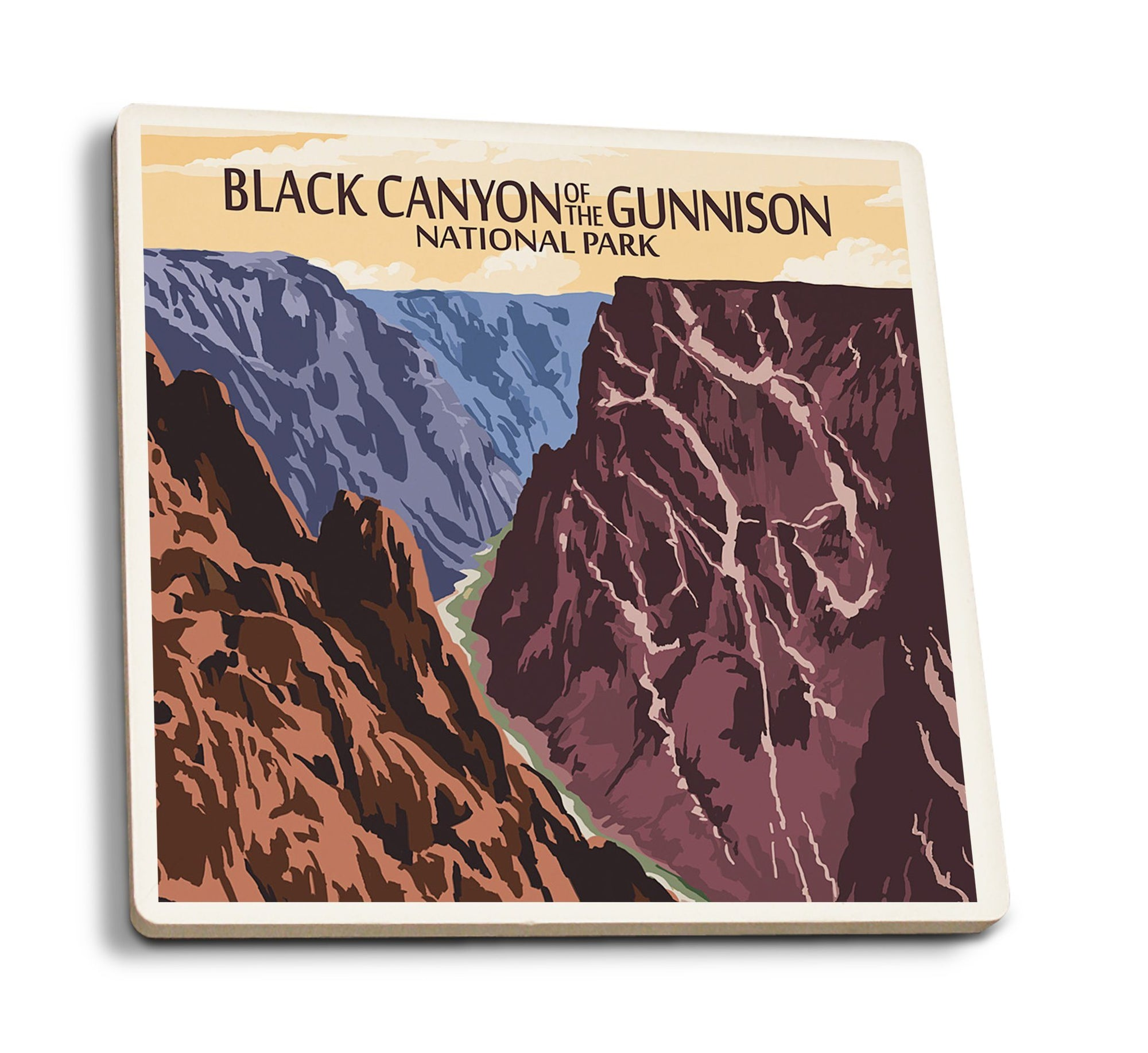 Coaster (Black Canyon of the Gunnison National Park, Colorado - River & Cliffs - Lantern Press Artwork) Coaster Nightingale Boutique Coaster Pack