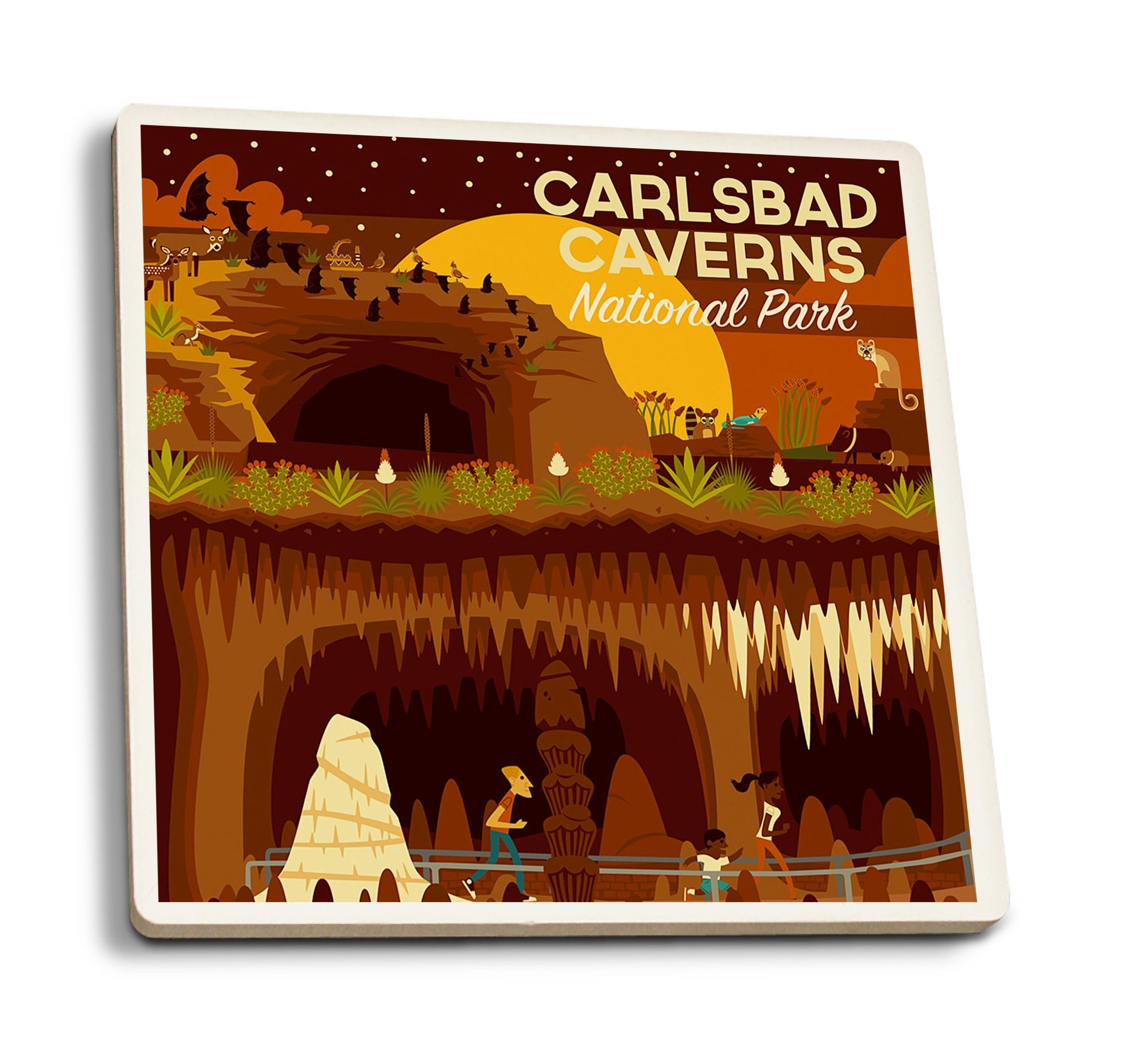 Coaster (Carlsbad Caverns National Park, New Mexico - Geometric - Lantern Press Artwork) Coaster Nightingale Boutique Coaster Pack