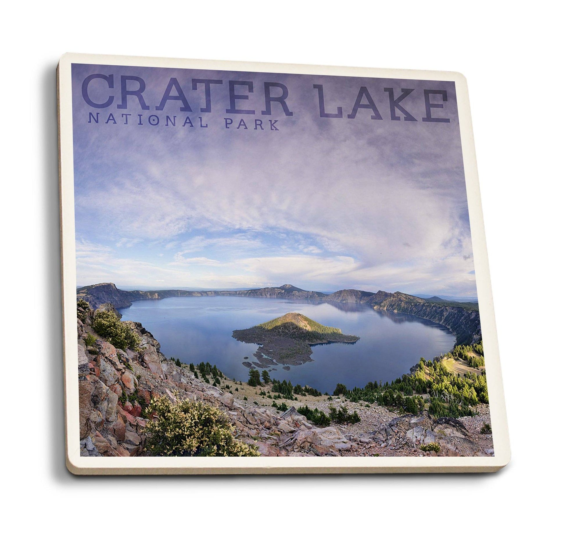 Coaster (Crater Lake National Park, Oregon - Panoramic View - Lantern Press Photography) Coaster Nightingale Boutique Coaster Pack