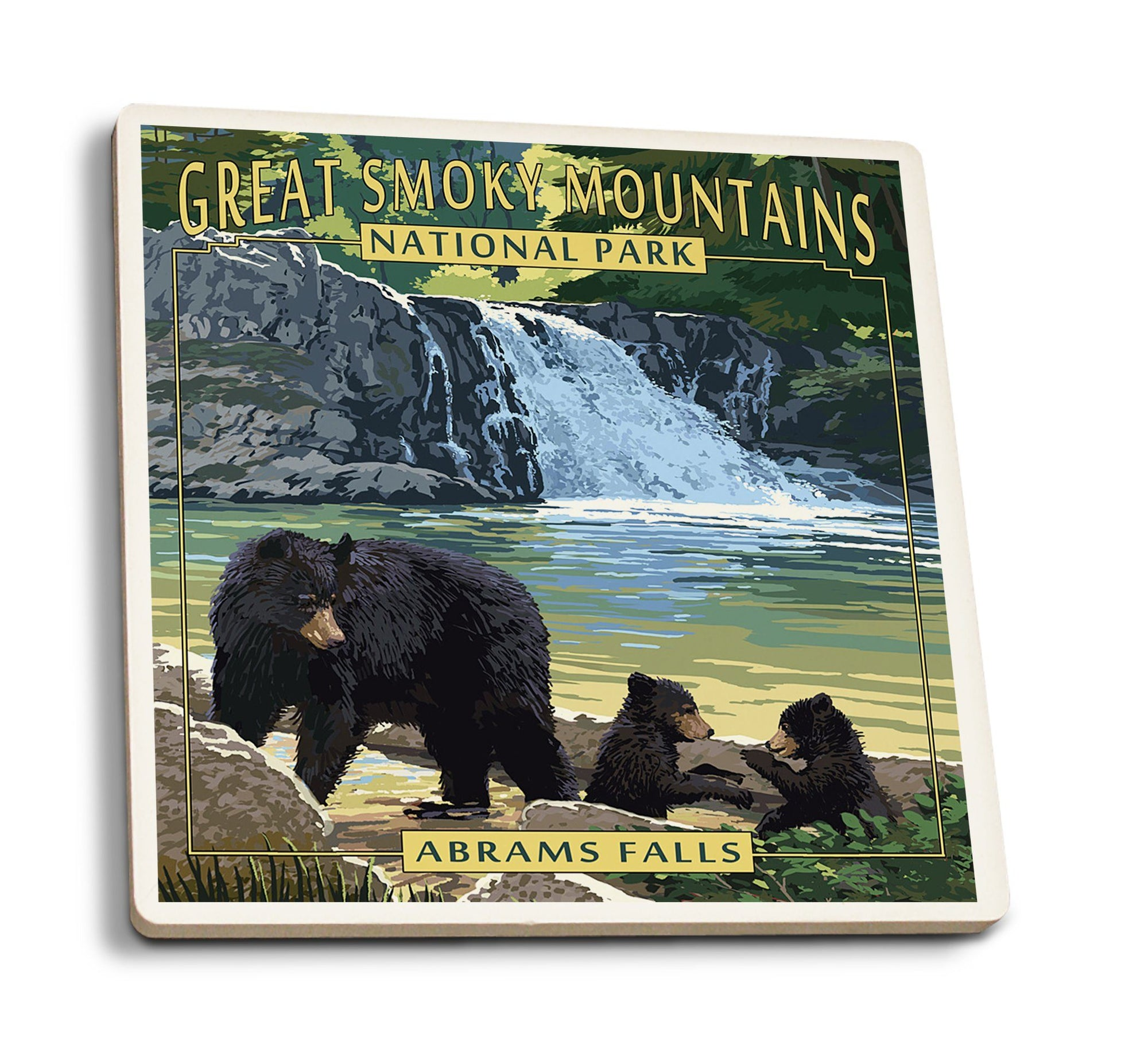 Coaster (Great Smoky Mountains National Park, Tennesseee - Abrams Falls - Lantern Press Artwork) Coaster Nightingale Boutique Coaster Pack