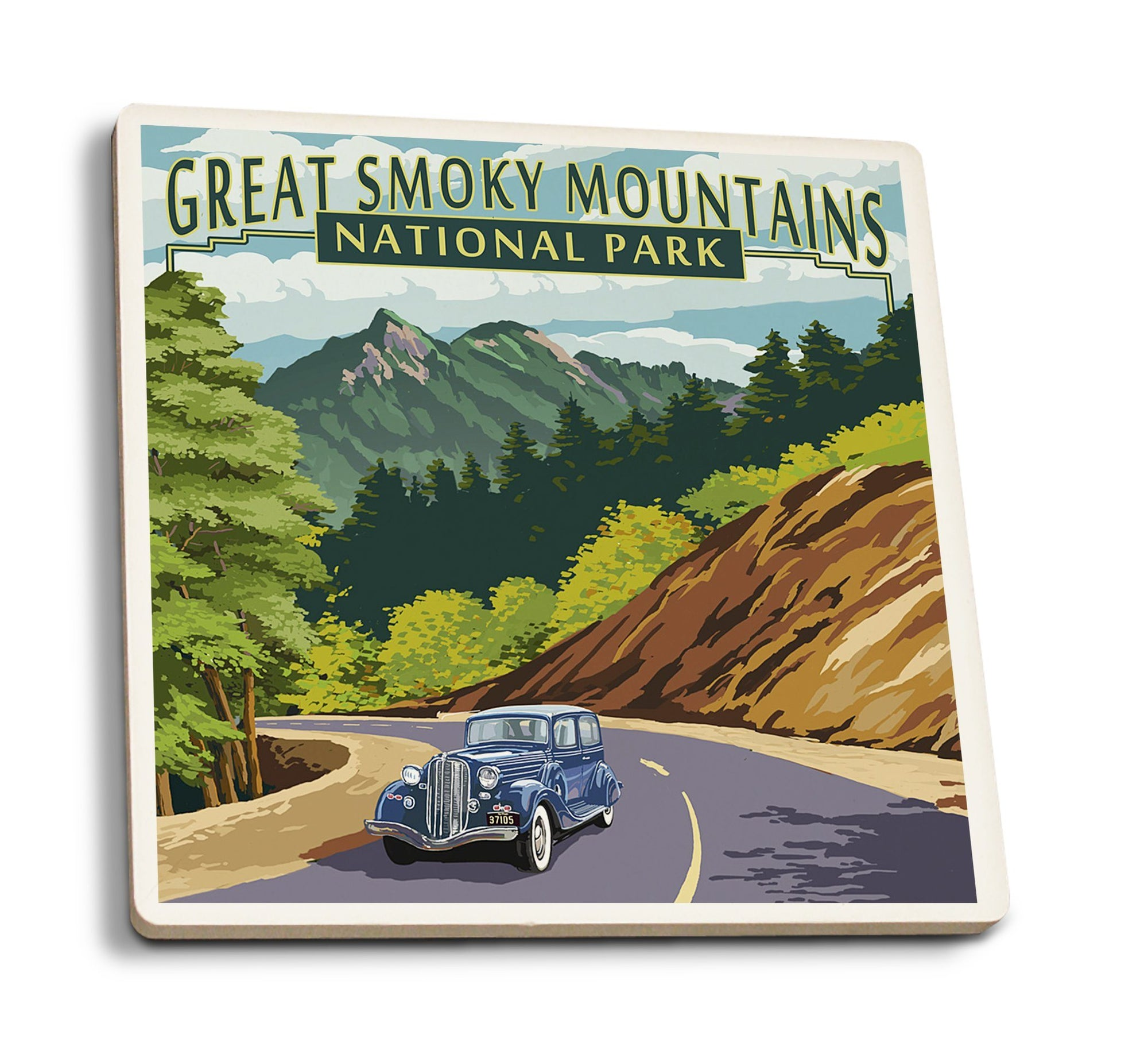Coaster (Great Smoky Mountains National Park, Tennesseee - Chimney Tops & Road - Lantern Press Artwork) Coaster Nightingale Boutique Coaster Pack