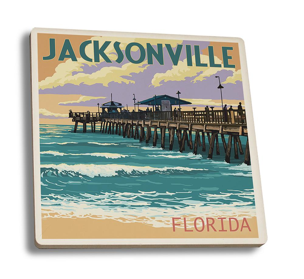 Coaster (Jacksonville, Florida - Pier & Sunset - Lantern Press Artwork) Coaster Nightingale Boutique Coaster Set