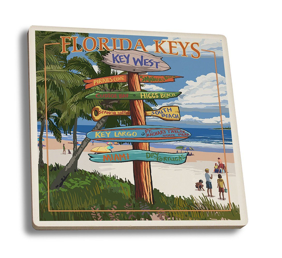 Coaster (Key West, Florida - Destinations Sign - Lantern Press Artwork) Coaster Nightingale Boutique Coaster Set