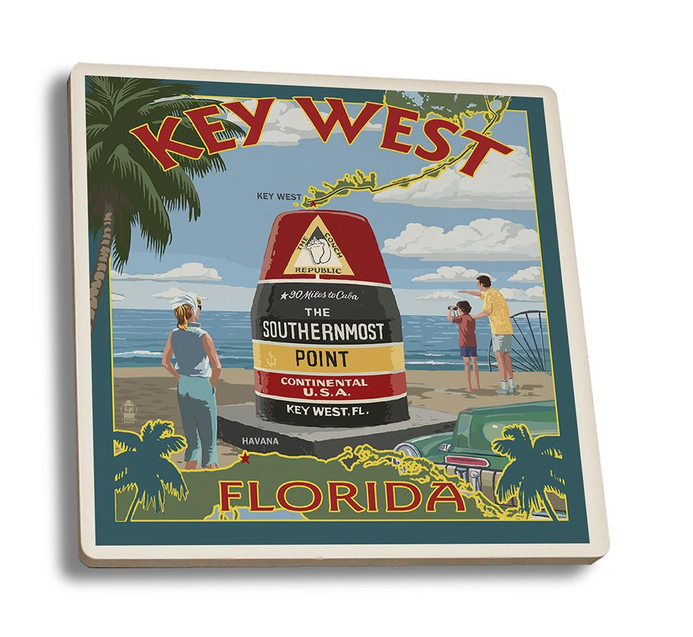 Coaster (Key West, Florida - Southernmost Point - Lantern Press Artwork) Coaster Nightingale Boutique Coaster Set