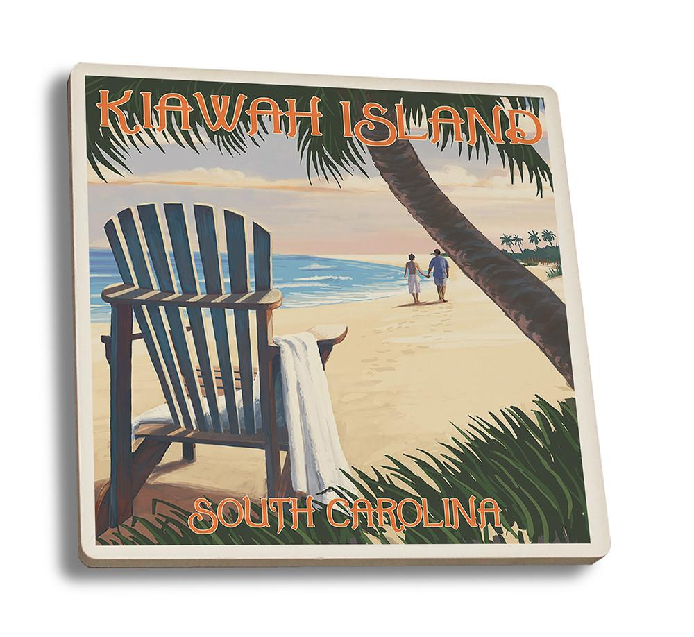 Coaster (Kiawah Island, South Carolina - Adirondack & Palms - Lantern Press Artwork) Coaster Nightingale Boutique Coaster Set