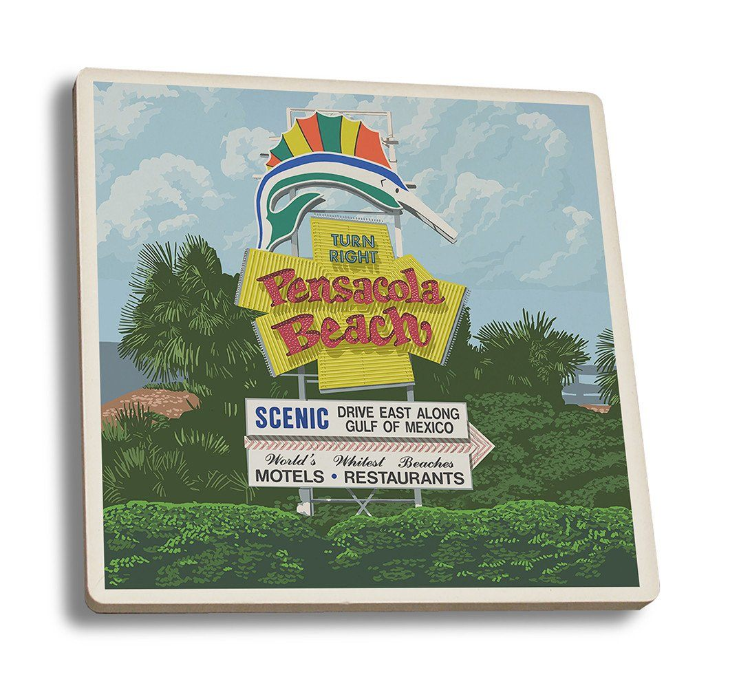 Coaster (Pensacola Beach, Florida - Sign - Lantern Press Artwork) Coaster Nightingale Boutique Coaster Set