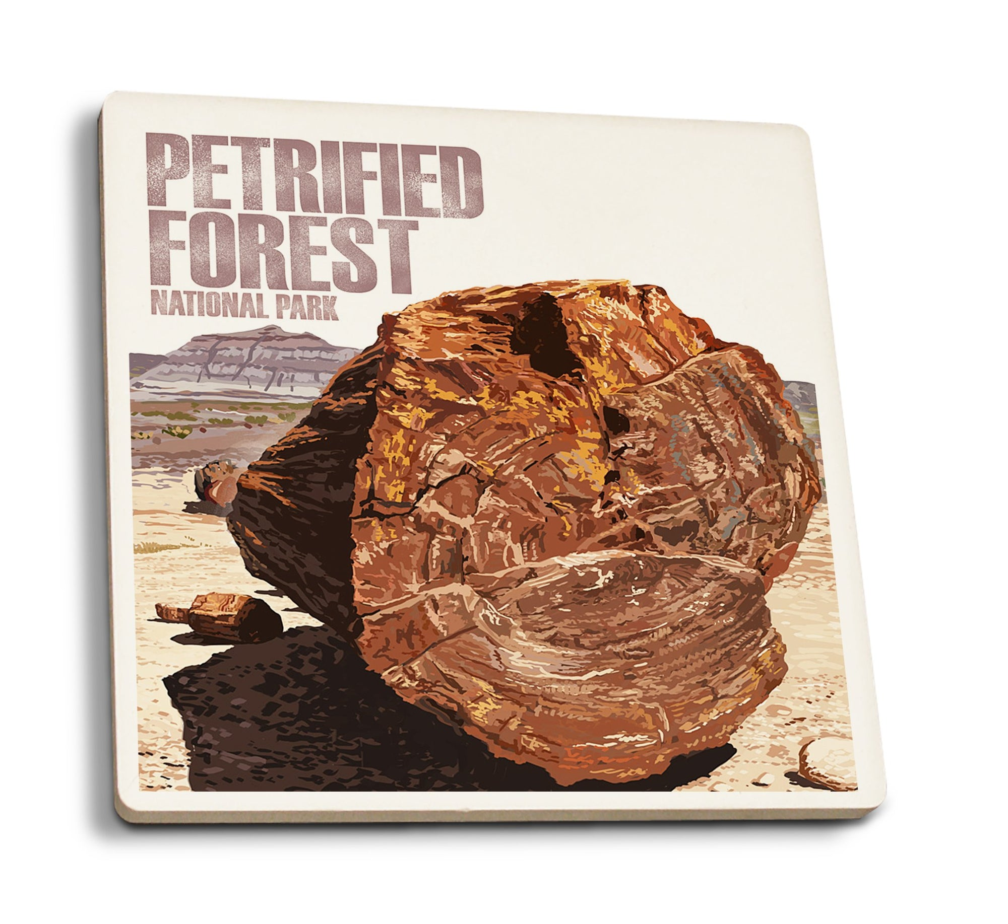 Coaster (Petrified Forest National Park, Arizona - Petrified Wood Close Up - Lantern Press Artwork) Coaster Nightingale Boutique Coaster Pack