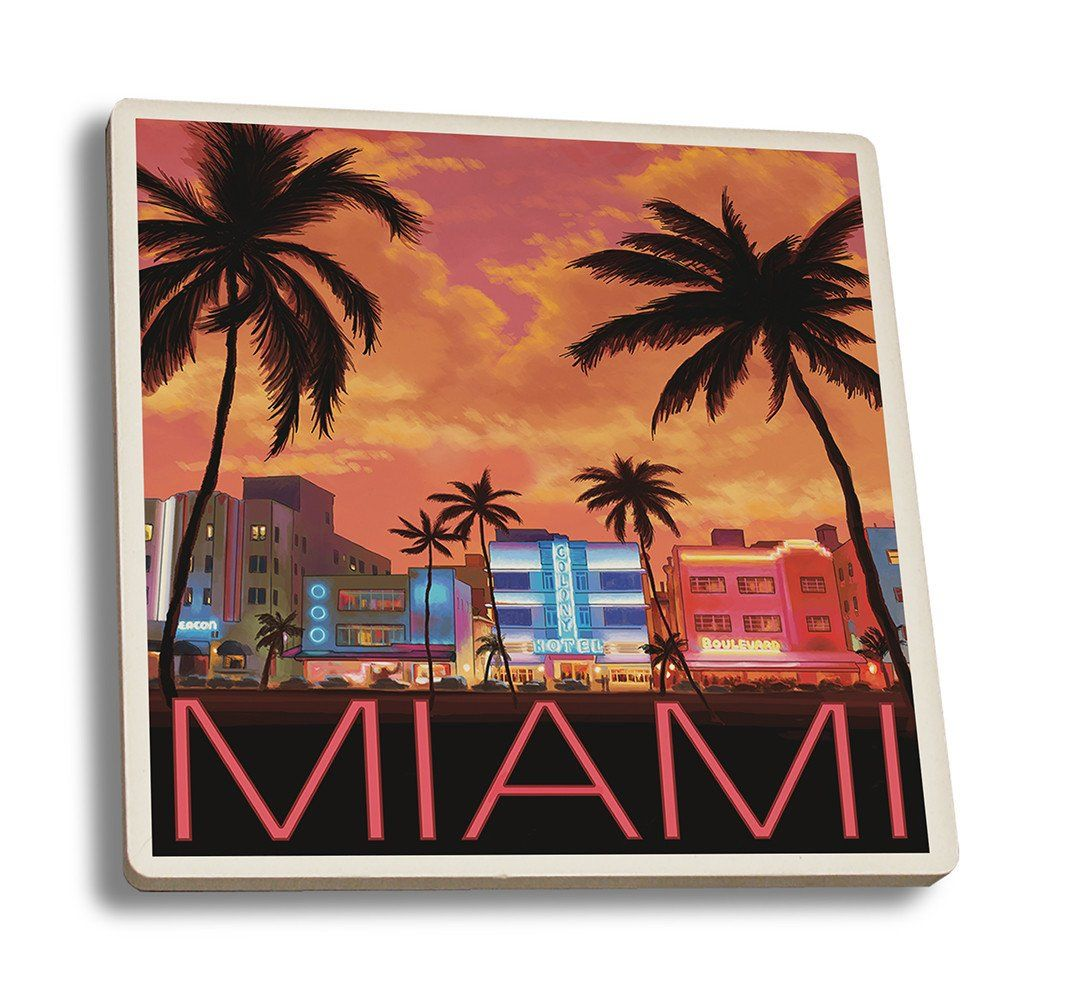 Coaster (South Beach Miami, Florida - Lantern Press Artwork ) Coaster Nightingale Boutique Coaster Set