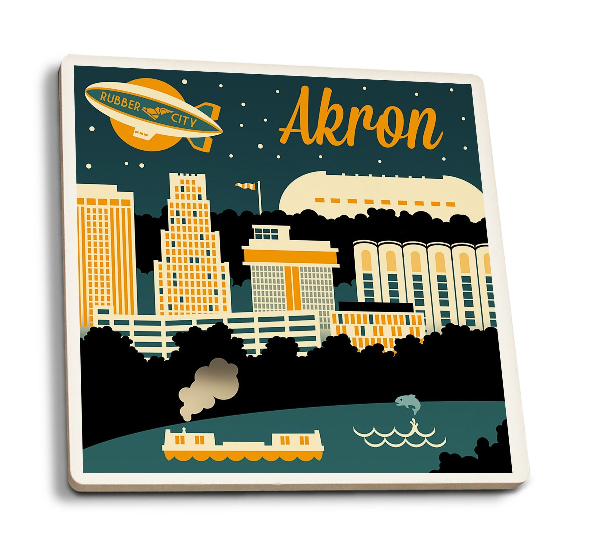 Coasters (Akron, Ohio, Retro Skyline, Lantern Press Artwork) Lifestyle-Coaster Lantern Press