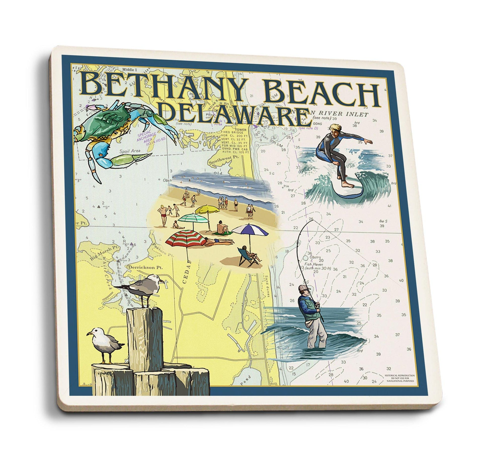 Coasters (Bethany Beach, Delaware, Nautical Chart, Lantern Press Artwork) Lifestyle-Coaster Lantern Press