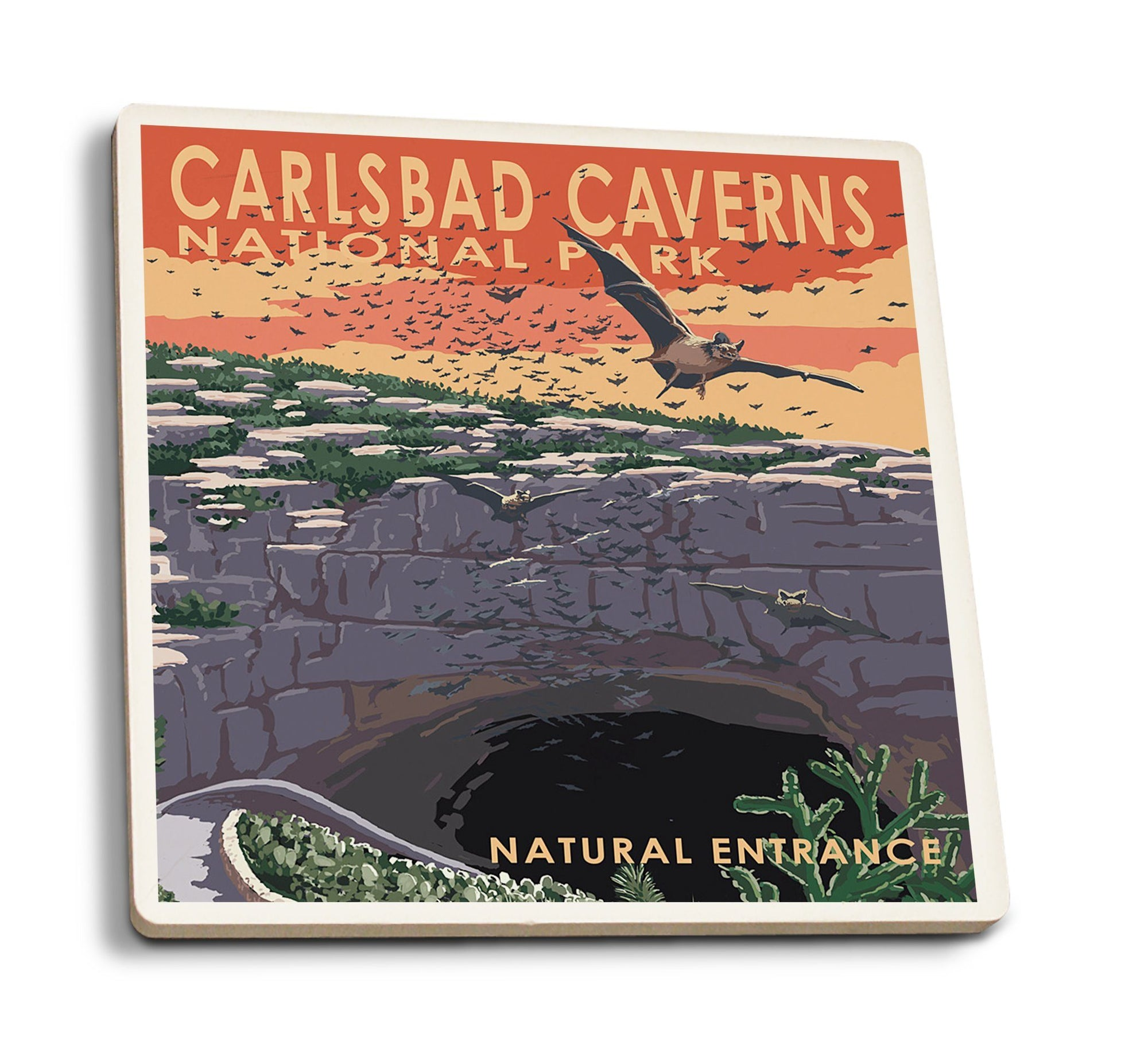 Coasters (Carlsbad Caverns National Park, New Mexico, Natural Entrance, Painterly Series, Lantern Press Artwork) Lifestyle-Coaster Lantern Press