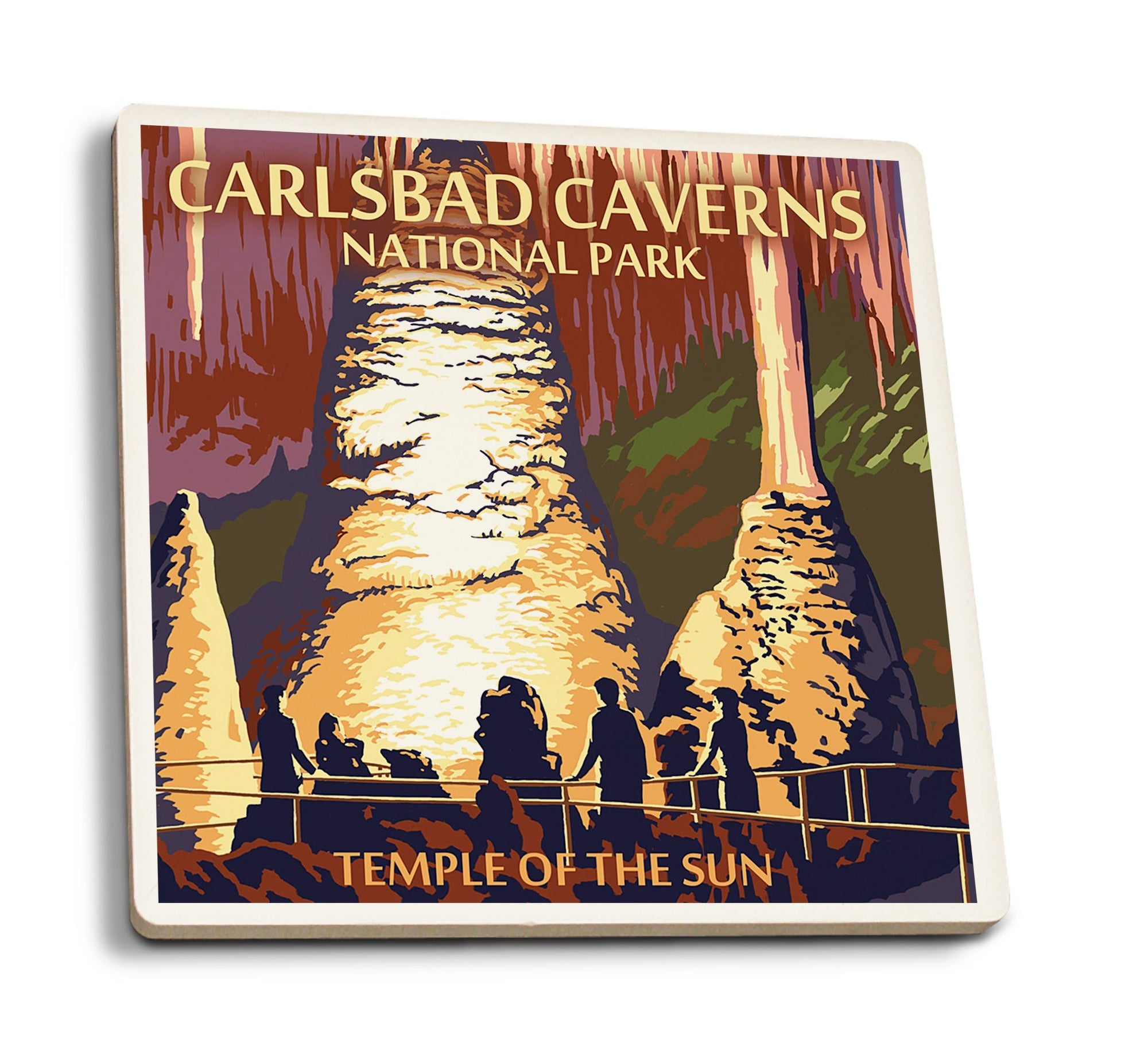 Coasters (Carlsbad Caverns National Park, New Mexico, Temple of the Sun, Painterly Series, Lantern Press Artwork) Lifestyle-Coaster Lantern Press