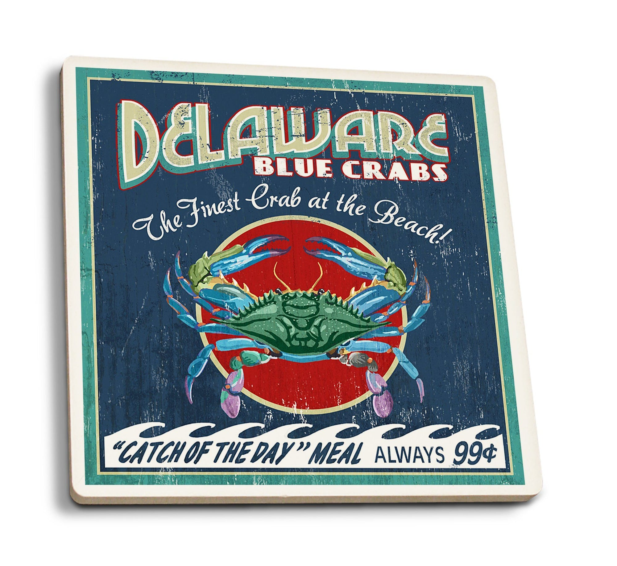 Coasters (Delaware Blue Crabs Vintage Sign, Best at the Beach, Lantern Press Artwork) Lifestyle-Coaster Lantern Press