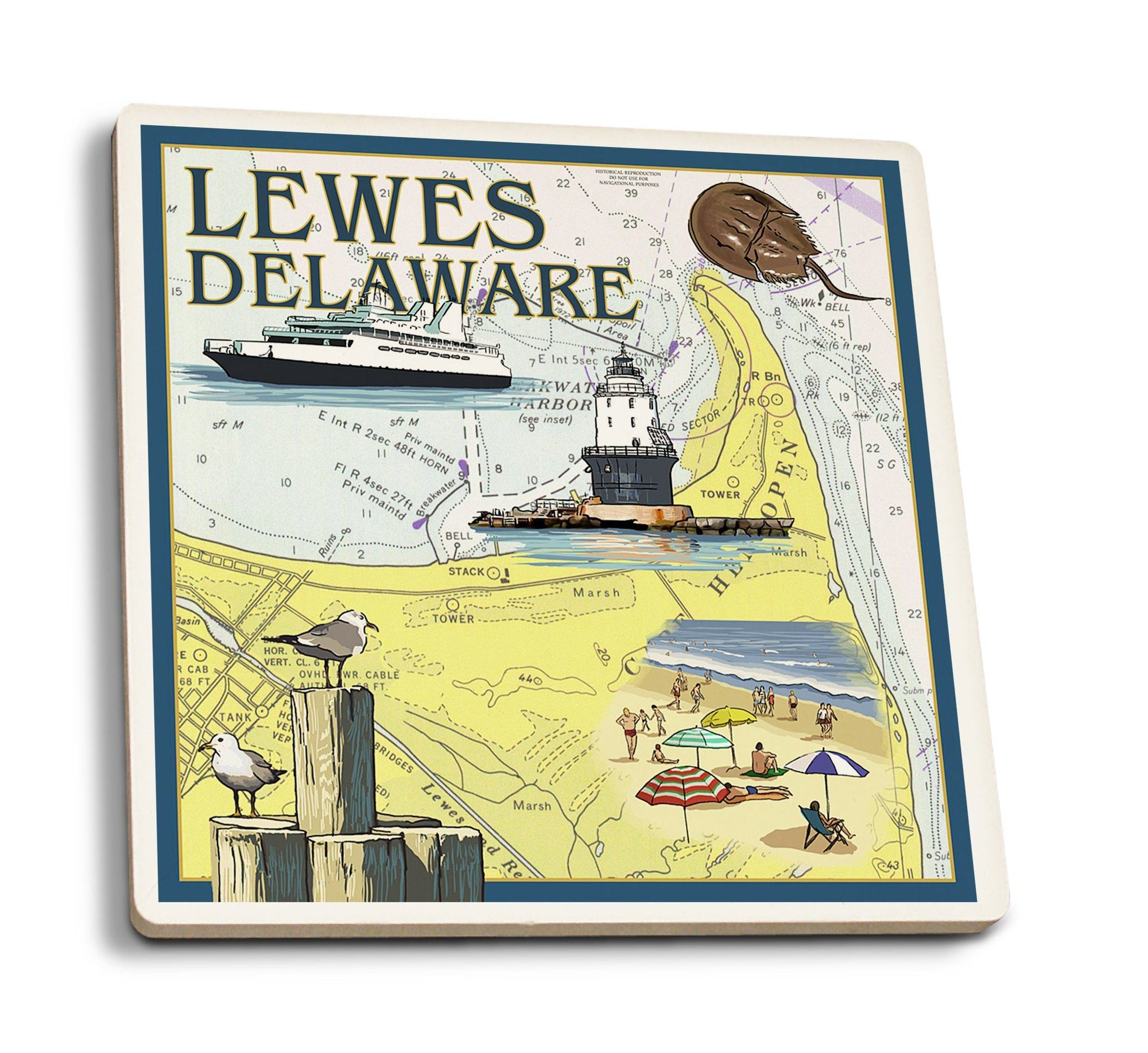 Coasters (Lewes, Delaware, Nautical Chart, Lantern Press Artwork) Lifestyle-Coaster Lantern Press