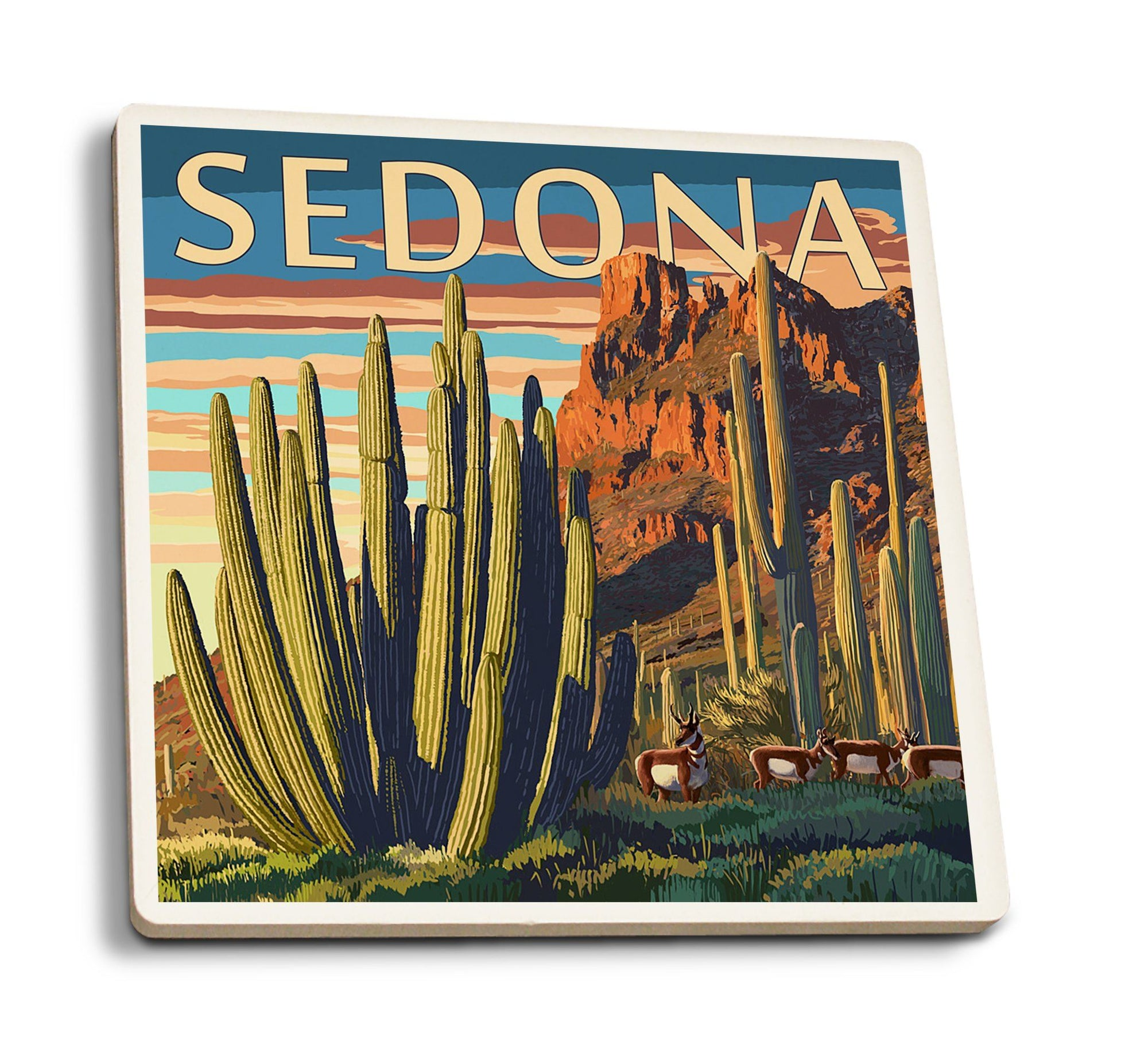 Coasters (Sedona, Arizona, Organ Pipe Cactus, Lantern Press Artwork) Lifestyle-Coaster Lantern Press