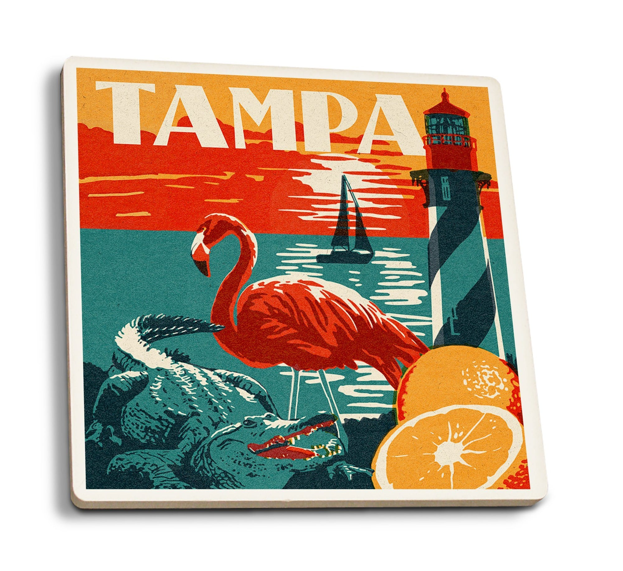 Coasters (Tampa, Florida, Woodblock, Lantern Press Artwork) Coasters Lantern Press