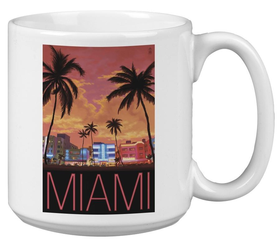 Mug (South Beach Miami, Florida - Lantern Press Artwork ) Mug Nightingale Boutique 15oz White Mug