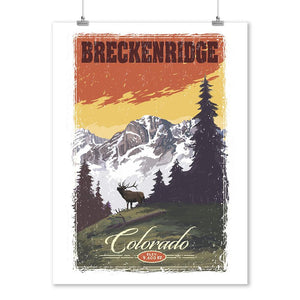 Prints (Breckenridge, Colorado, Mountain, Trees, & Elk, Lantern Press Artwork) Decor-Prints Lantern Press