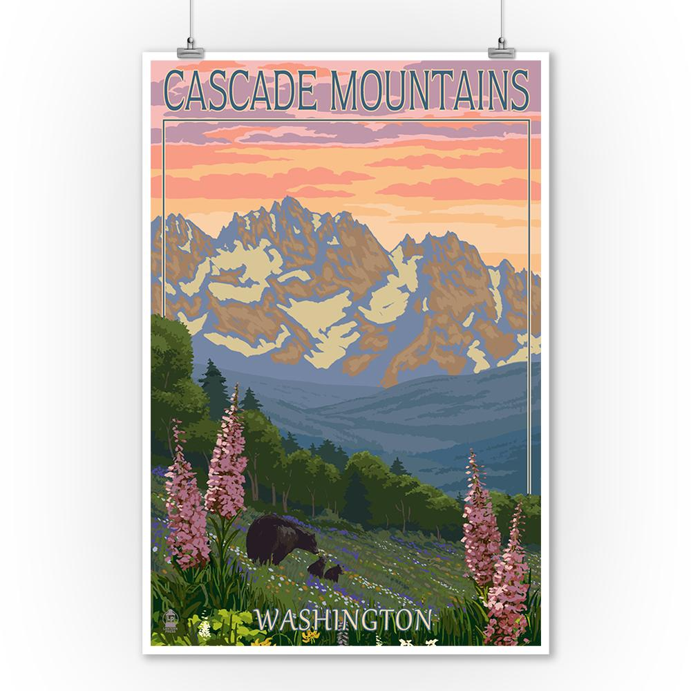 Prints (Cascade Mountains, Washington - Bears & Spring Flowers - Lantern Press Artwork) Art Lantern Press