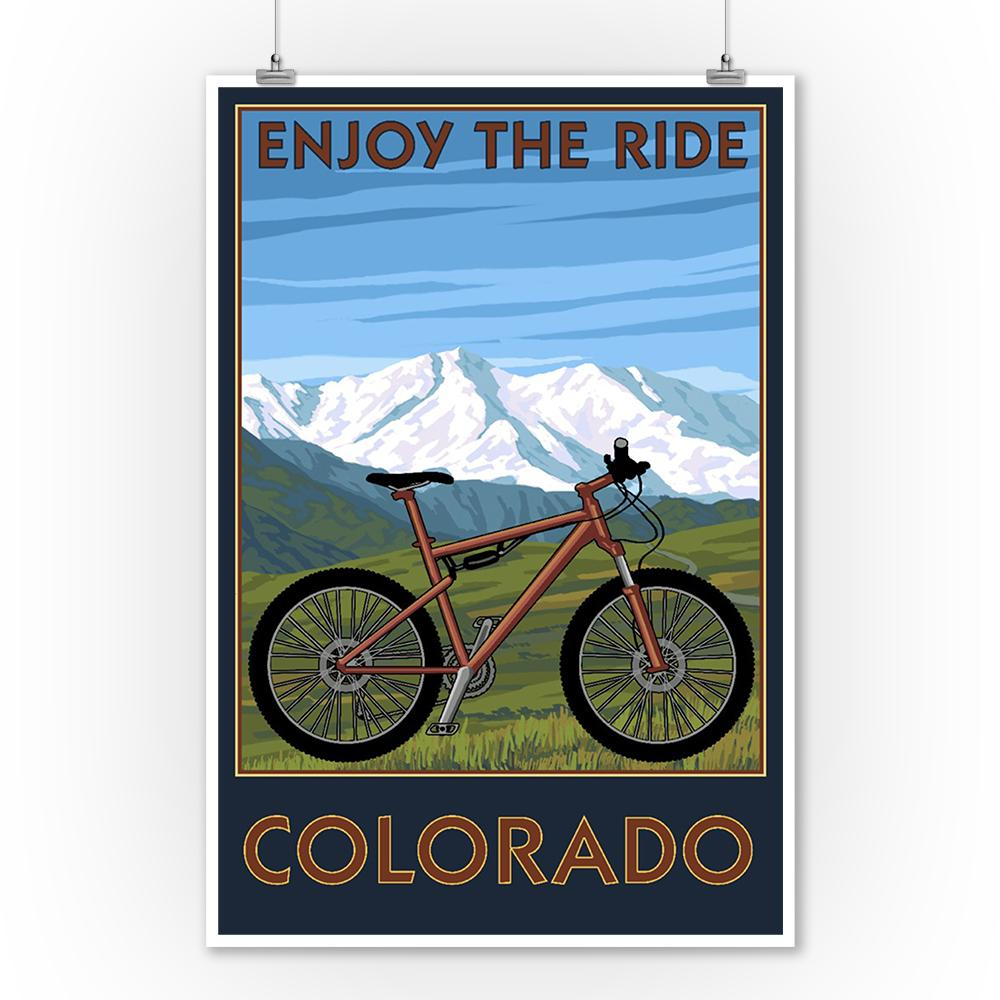 Prints (Colorado, Enjoy the Ride, Mountain Bike, Lantern Press Artwork) Decor-Prints Lantern Press