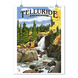 Prints (Telluride, Colorado, Waterfall, Lantern Press Artwork) Decor-Prints Lantern Press