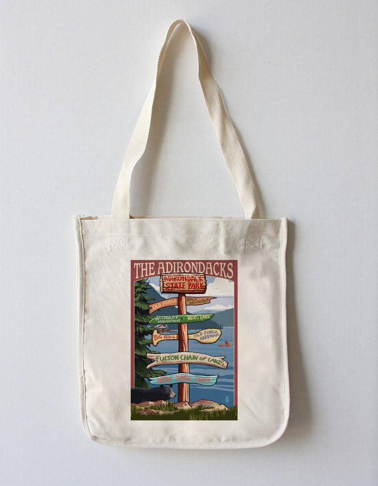 Tote Bag (Adirondack Park, New York - The Adirondacks - Destinations Sign - Lantern Press Artwork) Tote Bag Nightingale Boutique Tote Bag