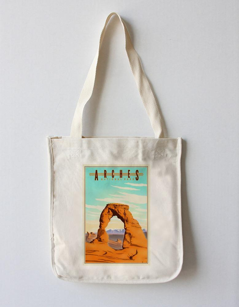 Tote Bag (Arches National Park - Lithograph - Lantern Press Artwork) Tote Bag Nightingale Boutique Tote Bag
