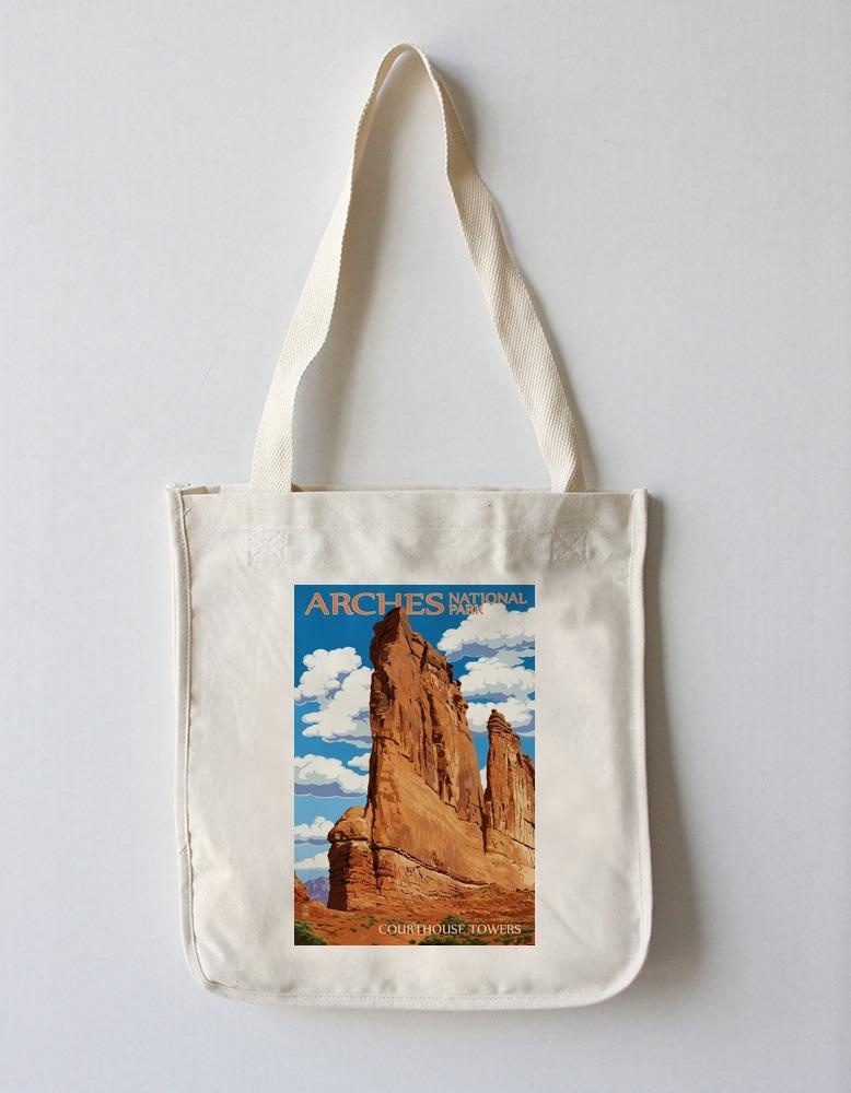 Tote Bag (Arches National Park, Utah - Courthouse Towers - Lantern Press Artwork) Tote Bag Nightingale Boutique Tote Bag