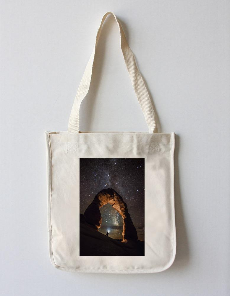 Tote Bag (Arches National Park, Utah - Delicate Arch & Milky Way - Lantern Press Photography) Tote Bag Nightingale Boutique Tote Bag
