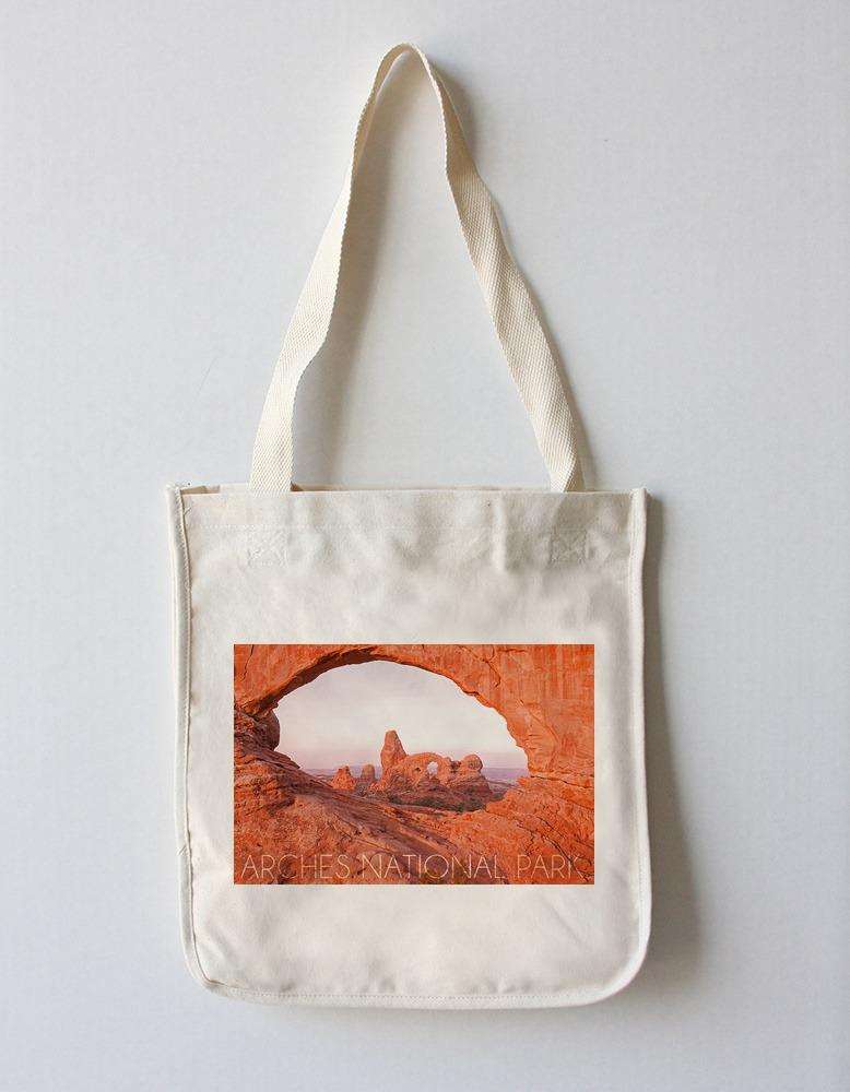 Tote Bag (Arches National Park, Utah - Pink Sky - Lantern Press Photography) Tote Bag Nightingale Boutique Tote Bag