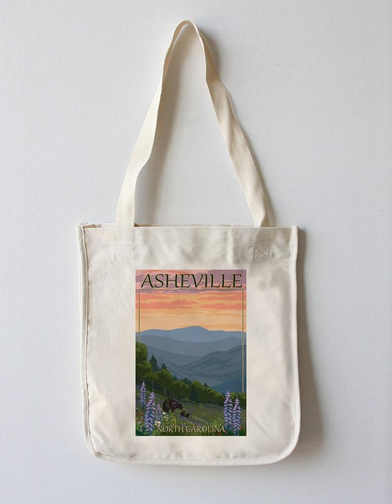 Tote Bag (Asheville, North Carolina - Bear and Cubs with Flowers - Lantern Press Artwork) Tote Bag Nightingale Boutique Tote Bag