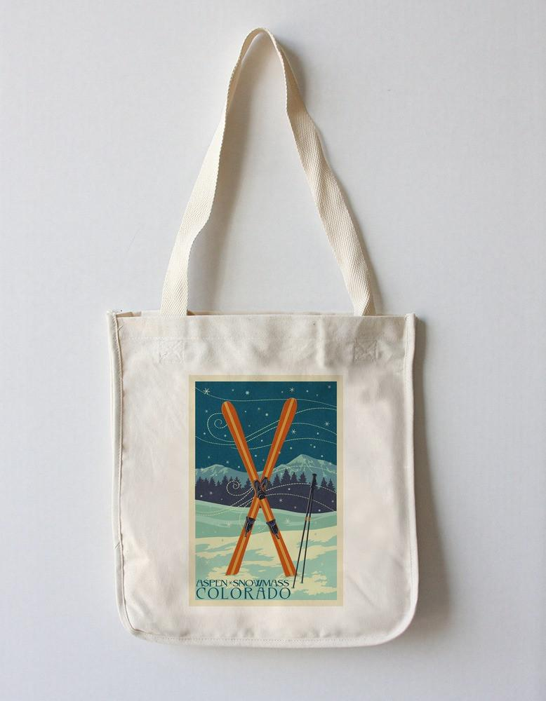 Tote Bag (Aspen - Snowmass, Colorado - Crossed Skis Letterpress - Lantern Press Artwork) Tote Bag Nightingale Boutique Tote Bag