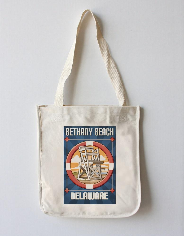Tote Bag (Bethany Beach, Delaware - Lifeguard Chair - Lantern Press Artwork) Tote Bag Nightingale Boutique Tote Bag