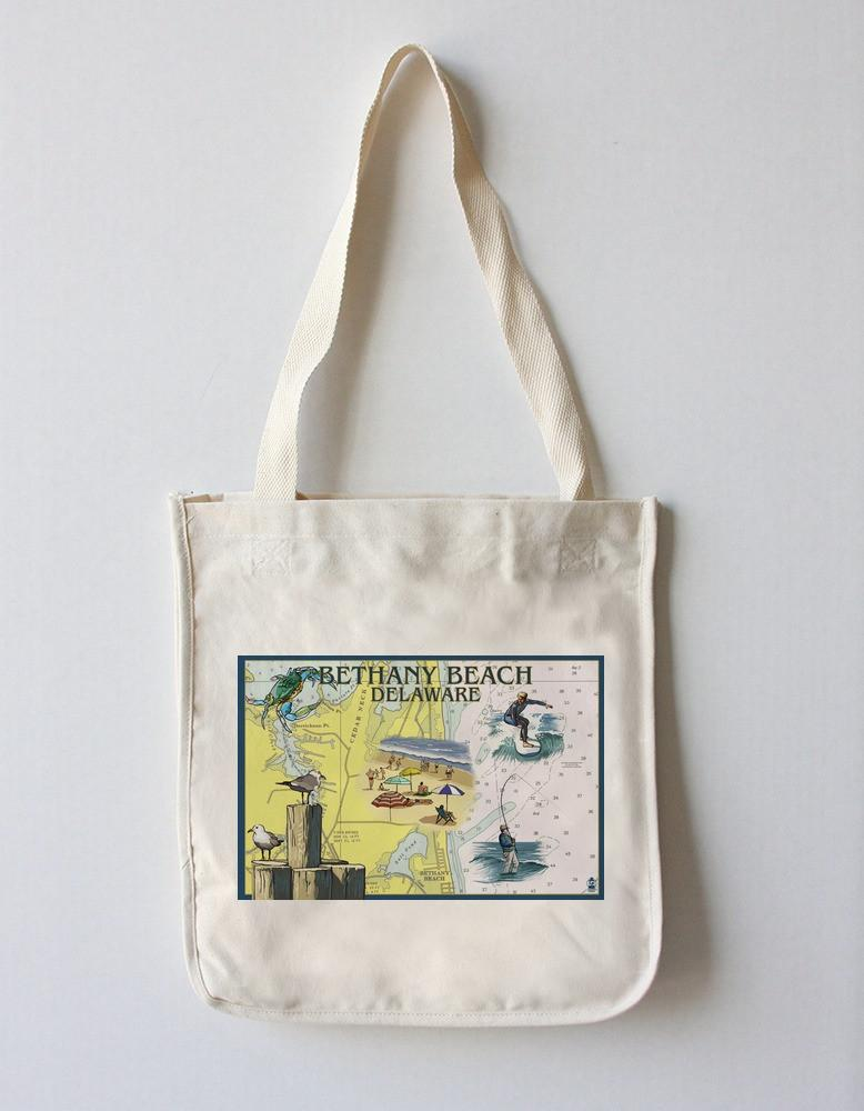 Tote Bag (Bethany Beach, Delaware - Nautical Chart - Lantern Press Artwork) Tote Bag Nightingale Boutique Tote Bag