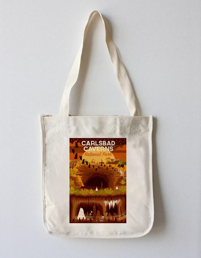 Tote Bag (Carlsbad Caverns National Park, New Mexico - Geometric - Lantern Press Artwork) Tote Bag Nightingale Boutique Tote Bag
